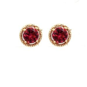 Golden red four-claw crystal earrings
